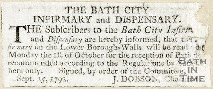 Notice about Bath City Infirmary and Dispensary from J. Dobson (Chairman) September 25th 1792