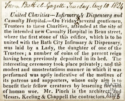 Announcing architect for new building for United Charity, Infirmary and Dispensary and Casualty Hospital August 10th 1824