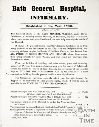Poster Bath General Hospital Or Infirmary December 11th 1853