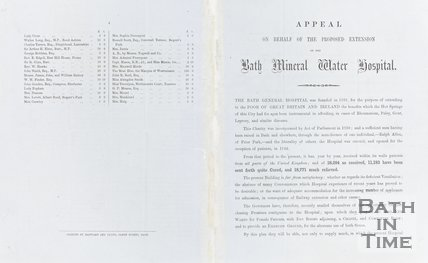 Appeal on behalf of the proposed extension of Bath Mineral Water Hospital May 4th 1857