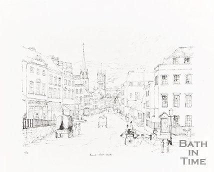 Ink Drawing of Lansdown Road and the junction of Bennet Street, Bath