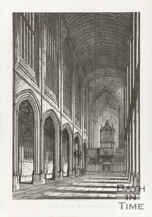 Engraving Bath Abbey Interior Somersetshire, December 1st 1818