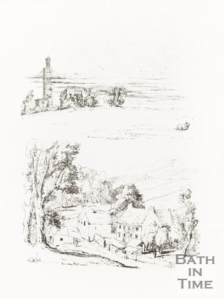 Ink Sketches Beckford's Tower and Bambury Farm, Weston