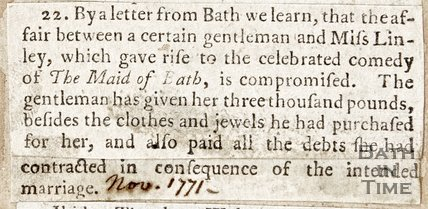 Concerning the affair between a certain gentleman and Miss Linley, November 1771