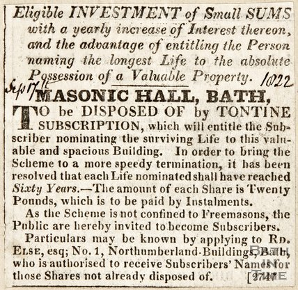 Masonic Hall, Bath looking for investments of small sums for the Masonic hall September 1822