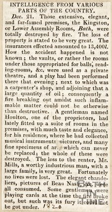 Intelligence from various parts of the country on the fire at the Lower Assembly Rooms, December 21st 1820