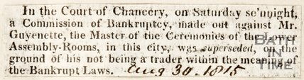 Mr Guyenette who was charged with Bankruptcy, but accusation suspended. August 30th 1815