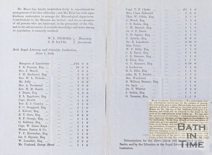 Lists Subscriptions and Secretaries of Literary and Scientific Institution June 1st 1854