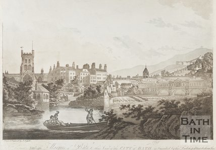 View of the Abbey, Monks Mill and Pulteney Bridge 1795.
