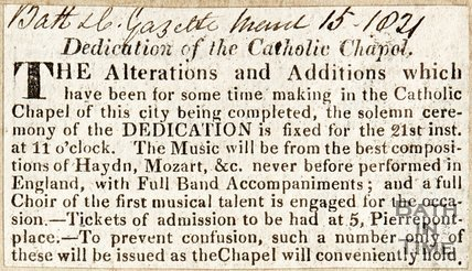 Dedication of the Catholic Chapel, alterations and additions to Catholic Chapel have been completed, ceremony to celebrate re-opening. March 15th 1824