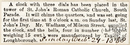 Clock with Three Dials has been placed in the tower at St. Johns. December 27th 1868