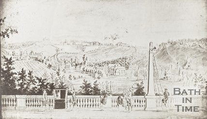 Photograph of copy of sketch View of Widcombe from South Parade, with lamplighter and sedan chair c.1747