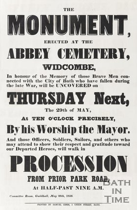 Poster for war memorial unveiling, 1856