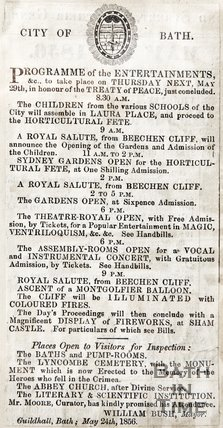 Program of entertainment that will happen on May 29th in honour of the Treaty of Peace, May 24th 1856.