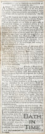 Anecdote and original Letter of David Garrick Esq. 3rd March 1770