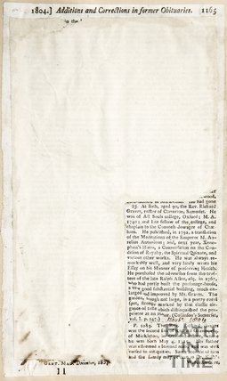Additions and Corrections in Former Obituaries, November 1804