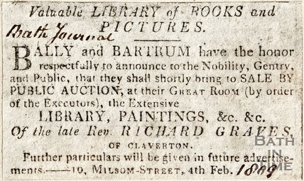 Valuable Library of Books and Pictures, Announcing an auction of the Late Revd. Richard Graves paintings, 4th February 1809