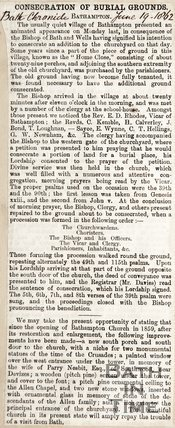 Consecration of Burial Grounds Bathampton June 19th 1862
