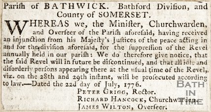 Parish of Bathwick, Bathford division and County of Somerset July 1776