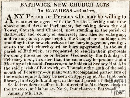 Bathwick New Church Acts, to builders and others January 8th 1818