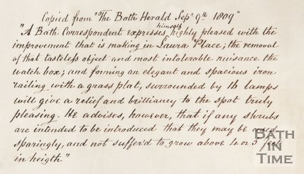 Transcript of Article: Improvements in Laura Place, Bath Herald September 9th 1809