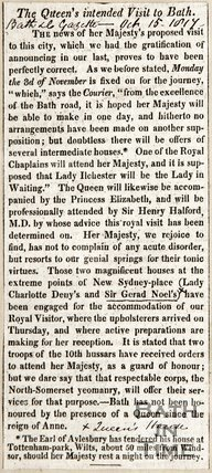 Queen's intended visit to Bath, October 15th 1817