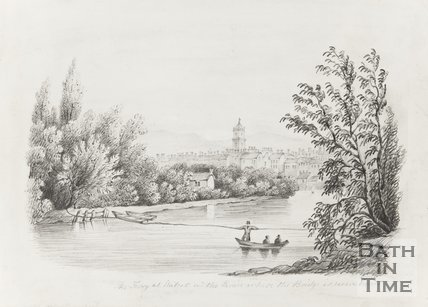 Ferry at Walcot with the Parade where the bridge is now built (pre 1830)