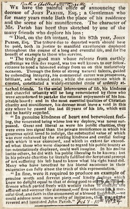 Obituary John Parish February 10th 1829