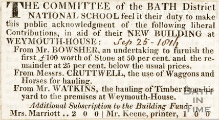 Committee for the Bath District National School, new building at Weymouth House. September 25th 1816
