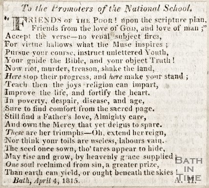 Verse to the Promoters of the National School April 4th 1815