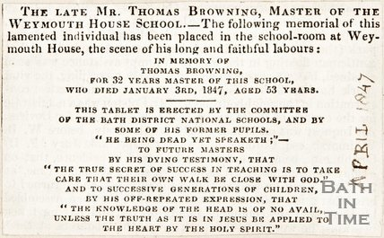 Late Mr Thomas Browning, Master of Weymouth House School April 1847
