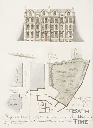 Map and architectural drawing of Weymouth House, former residence of Lord Viscount Weymouth