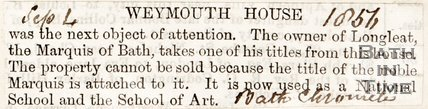 Weymouth House September 4th 1856