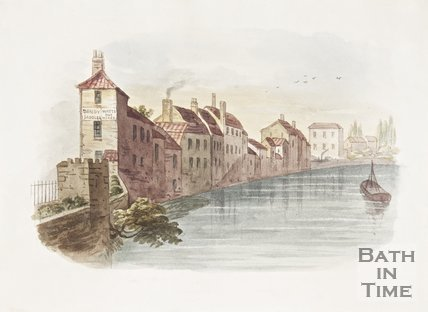 Watercolour of the southside of the Old Bridge 1854