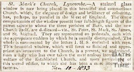 Newspaper article. St Marks Church Widcombe. January 10 1833