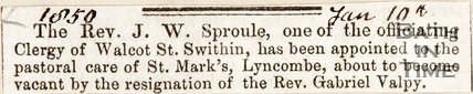 Newspaper cutting. New Reverend (J.W. Sproule) St Marks Church. Widcombe. January 10 1850.