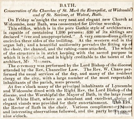 Newspaper cutting. Consecration of the Churches of St Mark, Widcombe and Wolcott Bath, 1830s