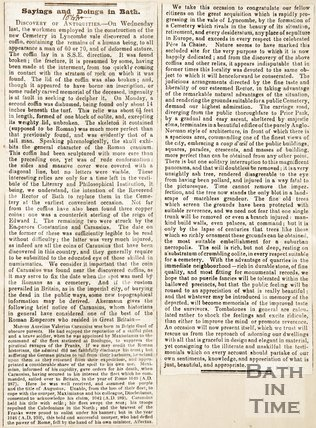 Newspaper cutting Sayings and doings in Bath 1843