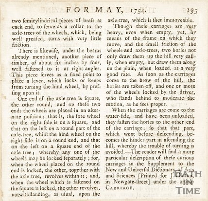May 1754. Description of the carriages that moved Bath stone.