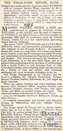 Newspaper article noting the sale of Prior Park estate, 1856