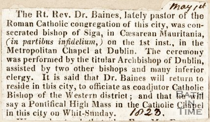 Newspaper article, 1823. Concerning Revd. Dr Baines.
