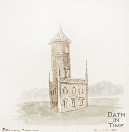 Ralph Allens Monument, Monument Fields, Combe Down 1850