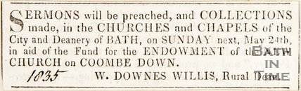 Newspaper article. Announcing a collection from Combe Down Church, 1835.