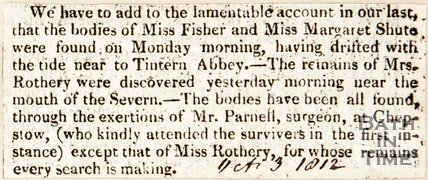Newspaper article. Describing the discovery of two bodies in the Severn. October 3rd 1812.
