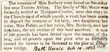 Newspaper article. Describing the fatal accident of Miss Shute and company. October 10th 1812.