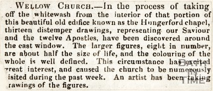 Newspaper article. Wellow Church distemper drawing. December 17th 1845.