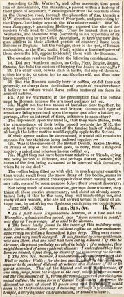 Newspaper article. Continuation of the article about the coffins found at Combe Down, 1822