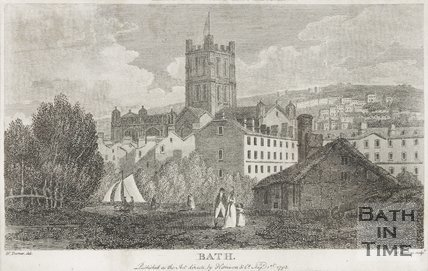 Bath, view across the River Avon to The Abbey 1795