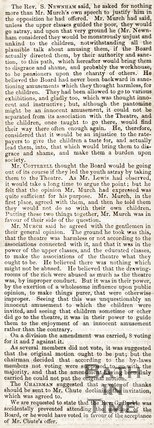 Newspaper article, 1857. A continuation of a review of the poor unable to attend a pantomine.