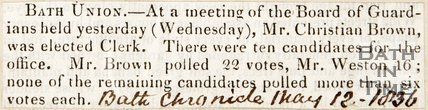 Newspaper article. Election of a new clerk for the Board of Guardians, 1837.